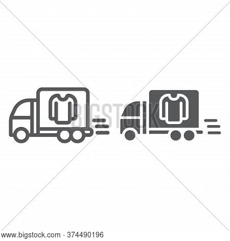 Laundry Service Delivery Line And Glyph Icon, Laundry And Car, Dry Cleaning Delivery Sign, Vector Gr