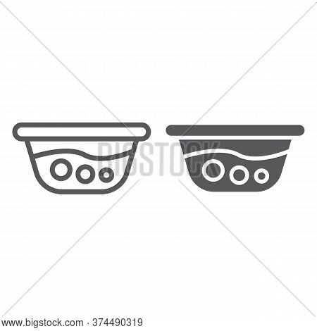 Basin With Water Line And Glyph Icon, Laundry And Wash, Washbowl Sign, Vector Graphics, A Linear Pat
