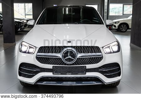 Novosibirsk/ Russia - April 28 2020: White Mercedes Benz Gle-class,  Mid-range Luxury Suv, Front Vie