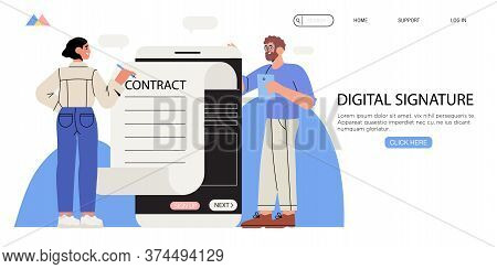 Business Woman Signing Up Smart Or Electronic Contract With Digital Signature On Smartphone. Data Pr