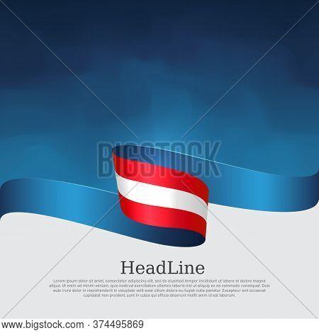 Austria Flag Background. Austria Flag With Wavy Ribbon On A Blue White Background. National Austrian