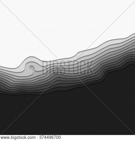 3d Topography Map. Abstract Background Of Gradient. Art Background Design. Horizontal Smooth Origami