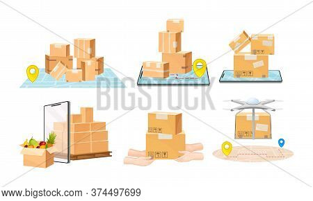 Cardboard Boxes, Quadcopter And Map As Navigation Vector Illustrations Set