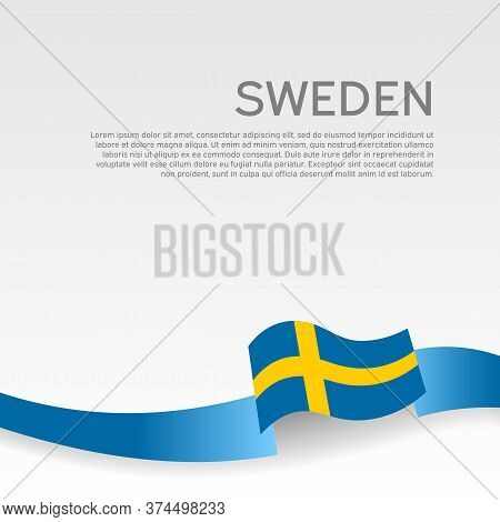 Background With Flag Of Sweden. Sweden Flag With Wavy Ribbon On A White Background. National Poster