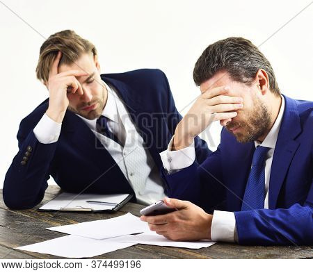Overworked Office Workers. Workaholic, Paperwork, Deadline Concept. Overtime And Frustration.
