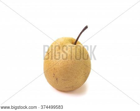 The Close Up Of Fresh Sand Pear Fruit (asian Pear, Chinese Pear) Isolated On White Background.