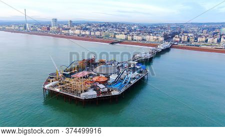 Amazing Aerial View Over Brighton Pier And Beach In England - Drone Footage - Brighton, United Kingd