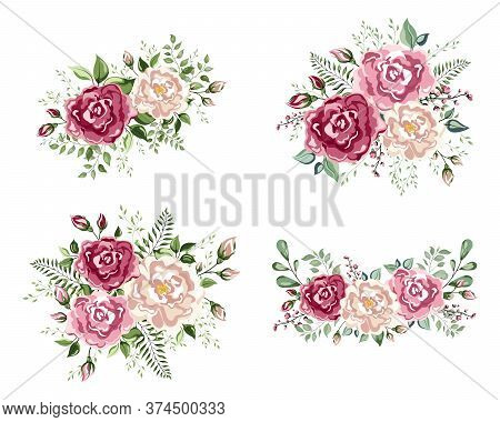 A Floral Arrangement In The Shape Of A Corner Of Beautiful Roses.  Peach, Creamy Pale Pink Anemone P