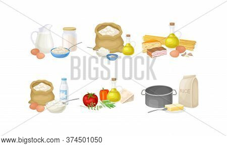 Baking And Cooking Ingredients With Foodstuff And Utensil Vector Set