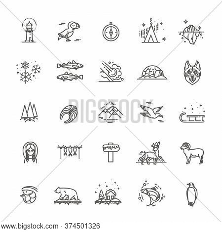 Thin Line Arctic Icons Set, North Pole Outline Logos Vector Illustration