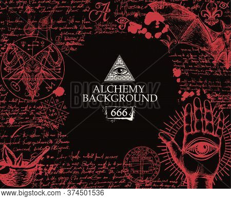 Alchemy Background. Artistic Illustration On An Alchemical Theme With Satanic Sketches Drawn In Bloo