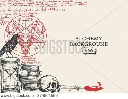 Alchemy Background In Vintage Style. Artistic Illustration With Black And Red Hand-drawn Sketches, S