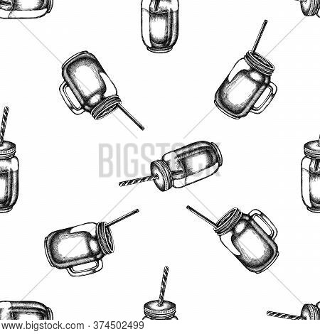 Seamless Pattern With Black And White Smothie Jars Stock Illustration