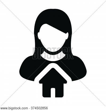 Home Symbol Icon Vector With Person Profile Avatar Female User In A Flat Color Glyph Pictogram Illus