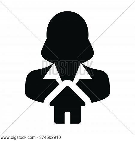 Avatar Icon Vector With Home Symbol Female User Person Profile In A Flat Color Glyph Pictogram Illus
