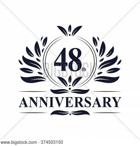 48th Anniversary Celebration, Luxurious 48 Years Anniversary Logo Design.