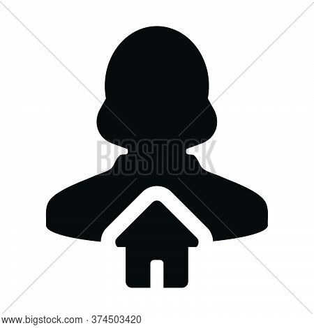 User Icon Vector With Home Symbol Person Profile Female Avatar In A Flat Color Glyph Pictogram Illus