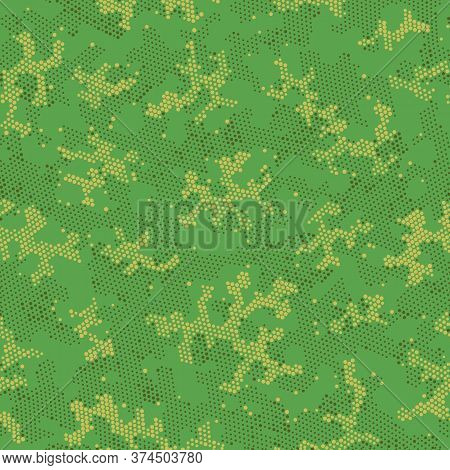 Seamless Vector Patterd Design.  Repeated Graphic Brown Military, Camo Camo. Green Seamless Circle C