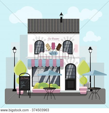 Facade Of An Ice Cream Parlor With A Summer Outdoor Terrace.  Illustration Of Restaurant Ice Cream,