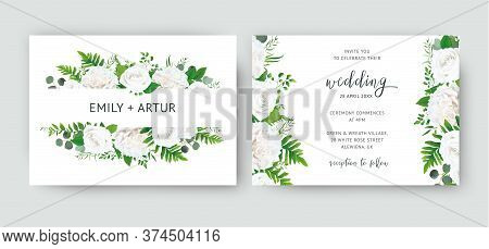 Wedding Invite, Invitation Card Floral Design With White Peony Roses, Ivory Rose Flower, Greenery Fo