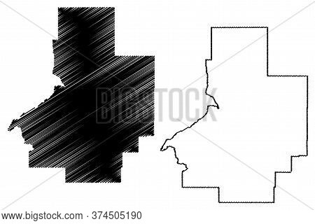 Butte County, Idaho (u.s. County, United States Of America, Usa, U.s., Us) Map Vector Illustration,