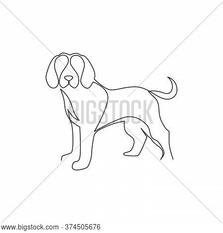 One Continuous Line Drawing Of Simple Cute Beagle Puppy Dog Icon. Mammals Animal Logo Emblem Vector
