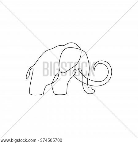 One Single Line Drawing Of Big Mammoth Business Logo Identity. Prehistory Animal From Ice Age Icon C