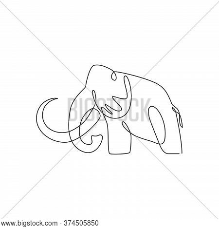 One Continuous Line Drawing Of Big Mammoth Company Logo Identity. Prehistoric Animal From Ice Age Ic