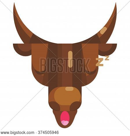 Sleeping Bull Face Emoji, Tired Cow Napping Icon Isolated Emotion Sign