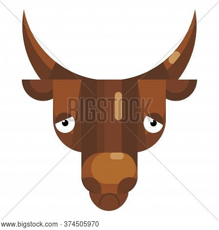 Sad Bull Face Emoji, Depressed Or Thoughtful Cow Icon Isolated Sign