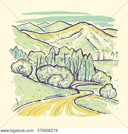 Summer Vintage Vector Landscape.valley With Mountains And Lush Green Meadows. Hand Drawn Color Sketc