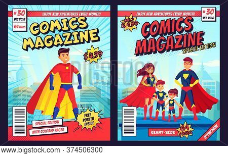 Comic Book Cover With Super Hero Man And Family Characters. Retro Magazine Editable Front Page Templ