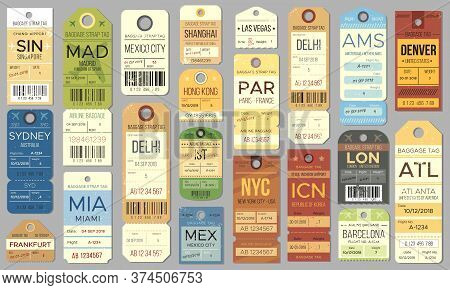 Luggage Tags And Tickets For Passenger With Country Destination, Weight And Date. Baggage Check For