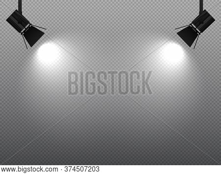 Spotlight Shining With White Light On Corners. Projector Or Flood Lamp Glowing Bright. Illuminated E