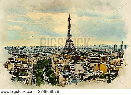 Aerial View Of The Paris Skyline With The Eiffel Tower. Watercolor Style Illustration
