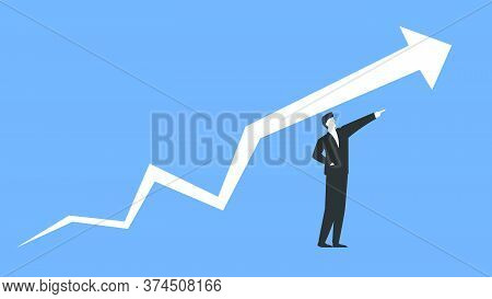 Vector Illustration Of A Successful Businessman And Big Arrow Representing Growth And Success. Conce