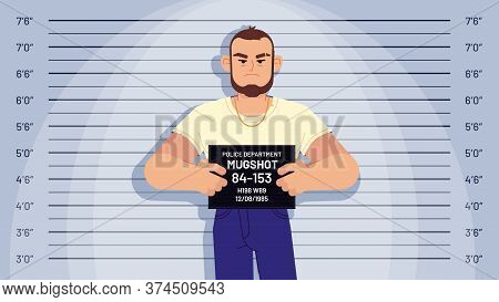 Cartoon Arrested Gangster Mugshot. Arrested Criminal Holds Board For Identification, Photo In Police