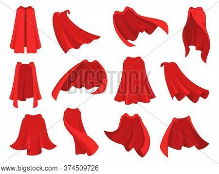 Superhero Red Cape. Scarlet Fabric Silk Cloak In Different Position, Front Back And Side View. Mantl