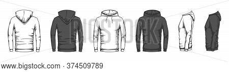 Hoodie Mockup. Trendy Casual Clothes Unisex Sport Merchandise, Blank Front Back Side Sweatshirt Hood