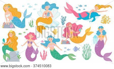 Mermaid. Cute Mythical Princess, Little Mermaids And Dolphin, Seashell And Seaweeds, Fishes And Cora