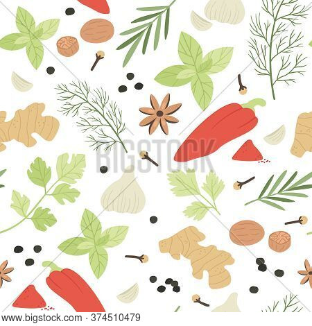 Seamless Pattern. Hand Drawn Aromatic Cooking Ingredients Cardamom And Ginger, Basil And Thyme, Barb
