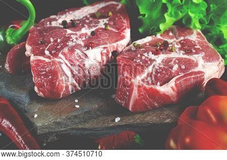 Food Set For A Picnic. Beef Steaks Ribeye Ready To Cook At Barbecue