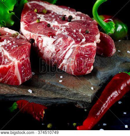 Food Set For A Picnic. Two Fresh Raw Ribeye Steak