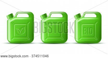 Set Of Green Gasoline Jerrycan With Leaf Symbol And Bio Word Isolated On White