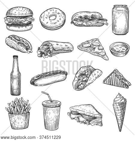 Fast Food Sketch. Pizza, Donut And Ice Cream, French Fries And Hamburger. Taco, Cola And Hot Dog, Bu