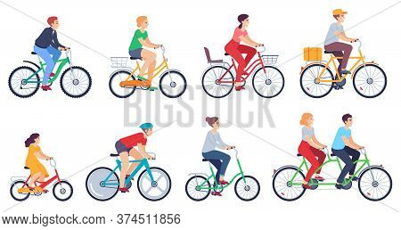 Cycling People. Women, Men Ride Bikes Sports Outdoor Activity, Friends Riding Bicycles Race On City