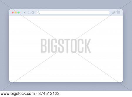 Browser Window. Blank Web Interface Mock Screen Internet Webpage Mockup. Website Blank Frame Tab Pag