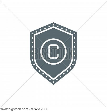 Shield With Copyright Sign Vector Icon Symbol Isolated On White Background