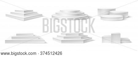 Realistic Podium. White 3d Empty Podiums, Pedestal And Platform Different Shapes For Award Ceremony,