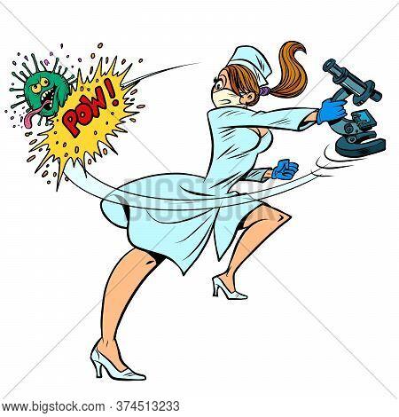 Super Hero Nurse Kills Coronavirus, Scientific Research. Comics Caricature Pop Art Retro Illustratio